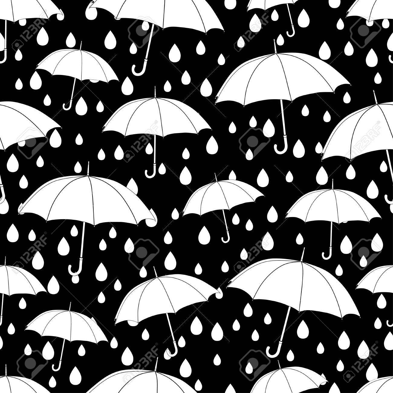 Modelo Inconsútil De Los Paraguas Libro De Colorear Ilustración Monocromática Fondo Del Vector Paraguas Y Gotas De Lluvia Blancos Sobre Un Fondo
