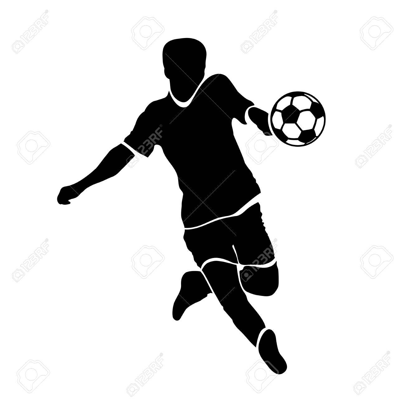 footballer silhouette black football player outline with a ball running and scoring goal