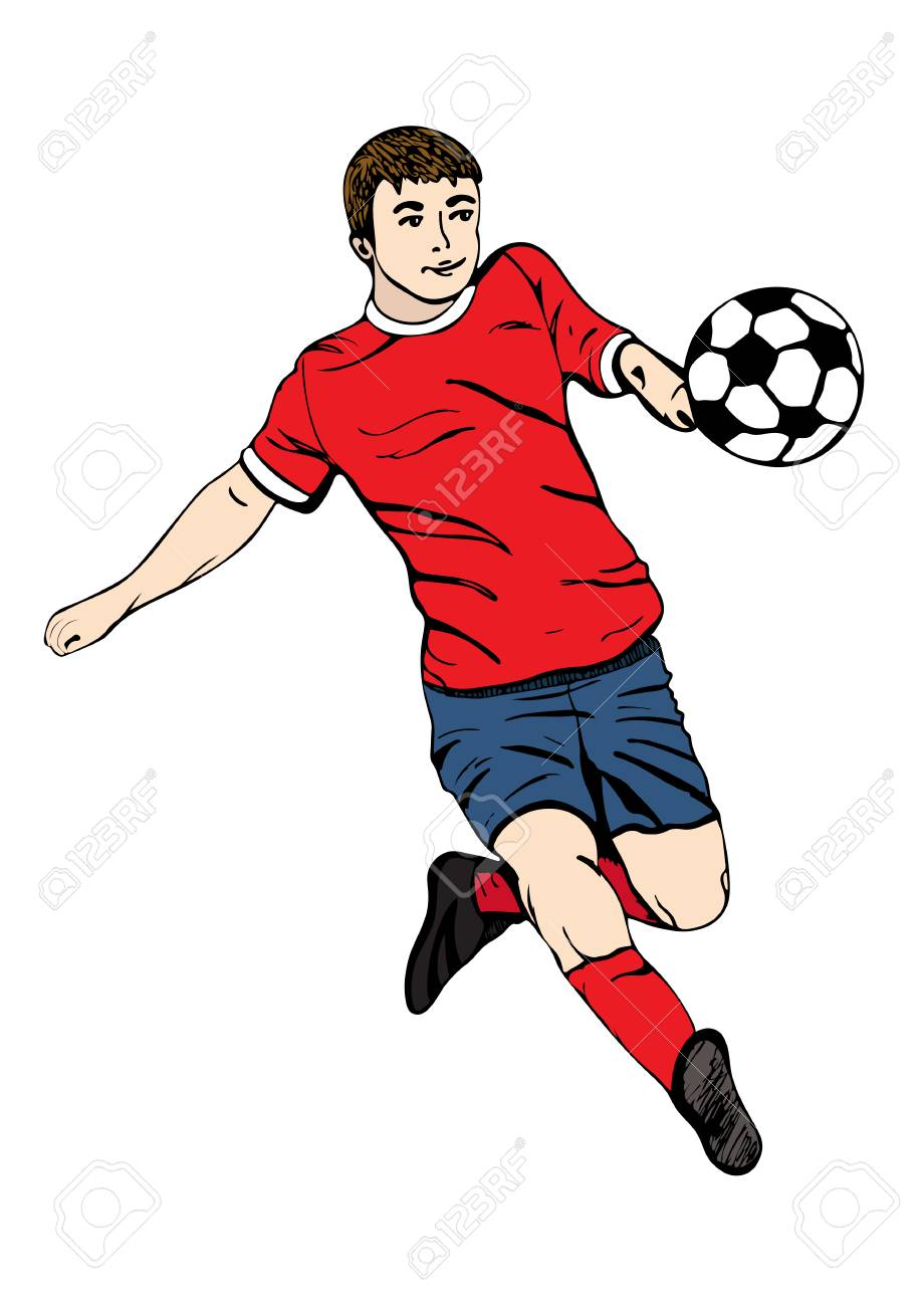 Footballer with a ball vector hand drawing football player in a red blue uniform