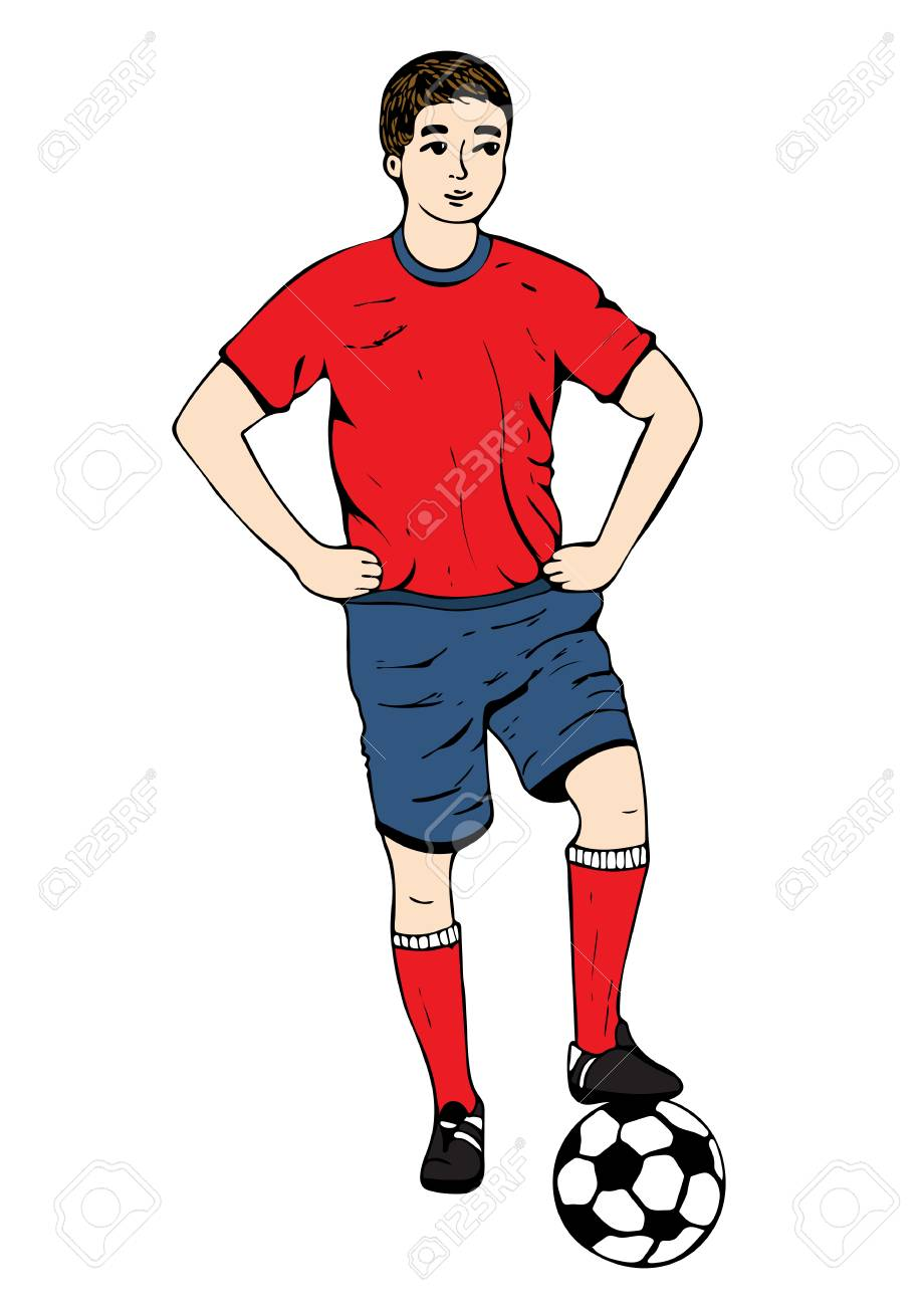 Footballer vector hand drawing football player in a red blue uniform with a ball