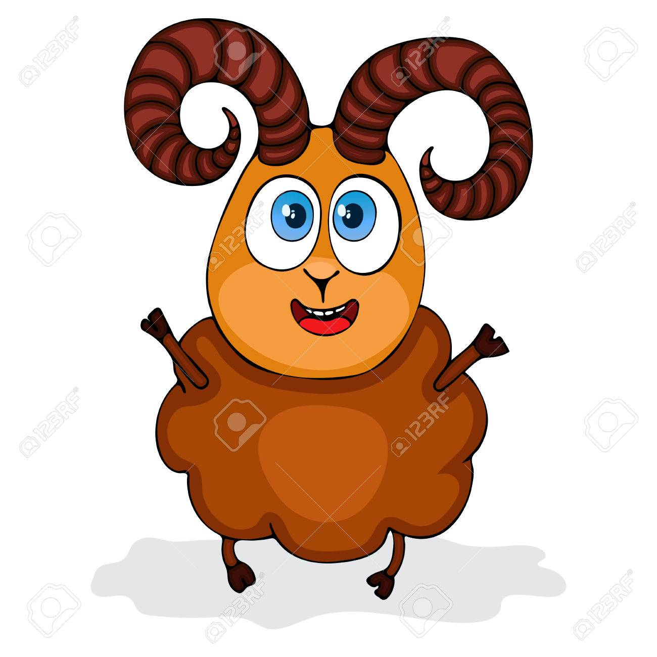Aries Zodiac Symbol In Cartoon Funny Ram Painted Character Isolated