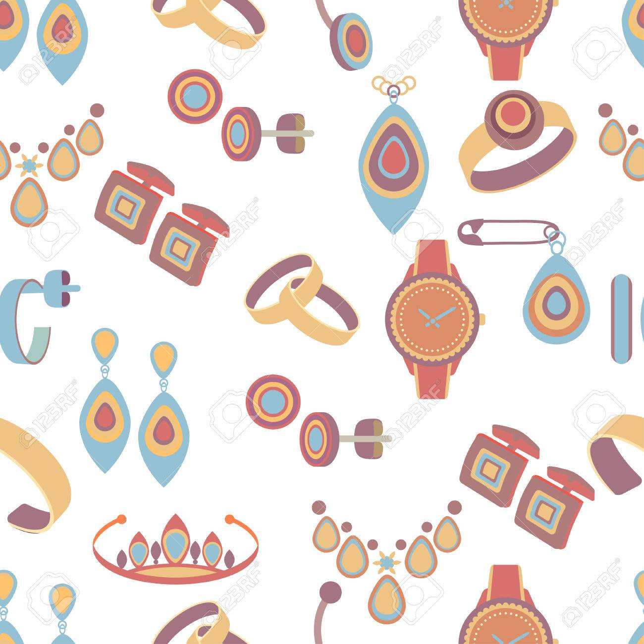 jewelry seamless pattern vector background multicolored cartoon