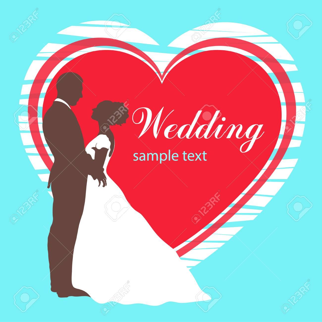 Bride And Groom Silhouette, Wedding Invitation, Card, Vector ...