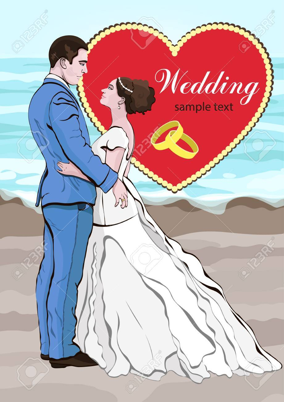 Bride And Groom Cartoon Vector, Wedding Invitation, Card. Couple ...