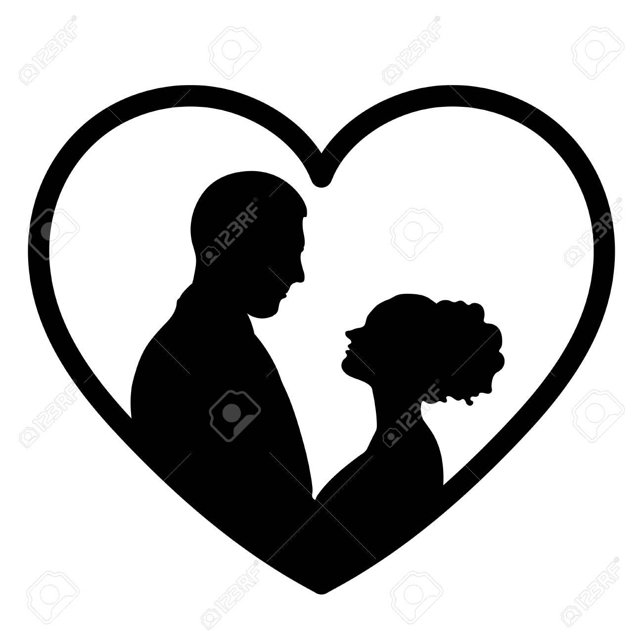Dessin Amoureux Couple silhouette de couple amoureux, icône plate, dessin de contour de la