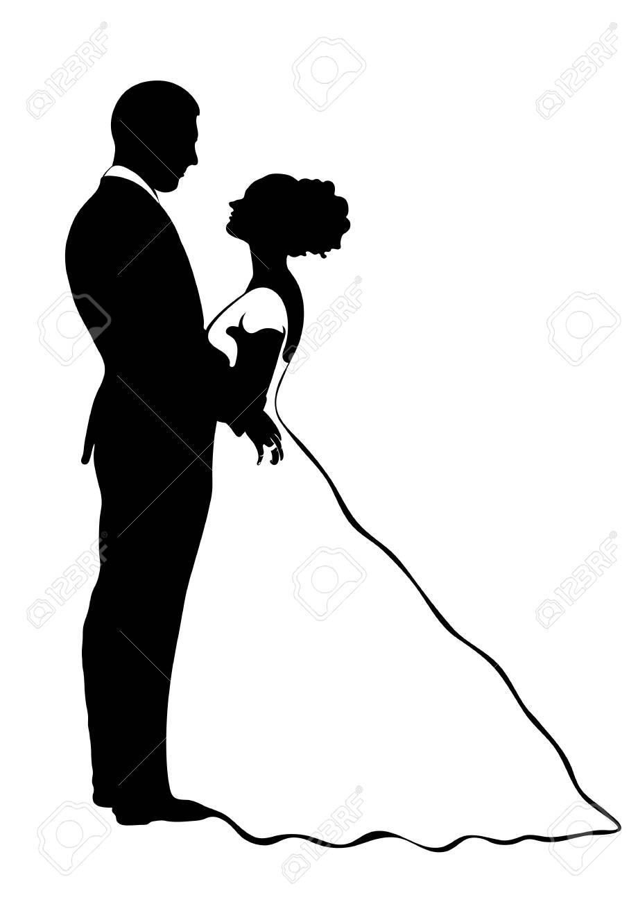 Silhouette De La Mariée Et Le Marié Icône De Vecteur Dessin De Contour Illustration En Noir Et Blanc Couple Amoureux étreindre Les Uns Les Autres Vêtu D Une Robe De Mariée Et Un