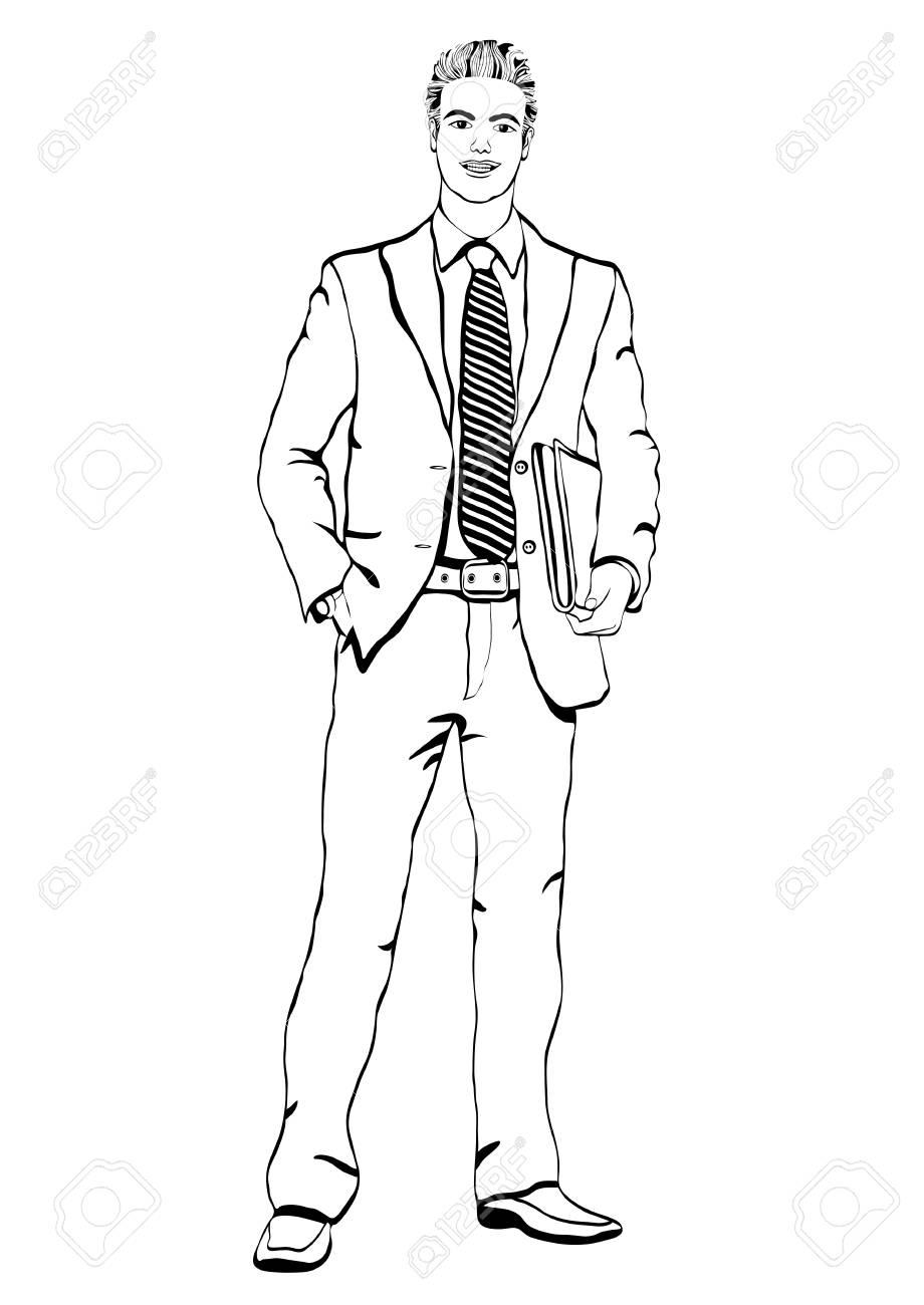 Hombre De Negocios En Traje Con Una Corbata Con Un Maletín En Sus Manos De Pie Frente A Lado El Contorno Del Vector Retrato Masculino De Cuerpo