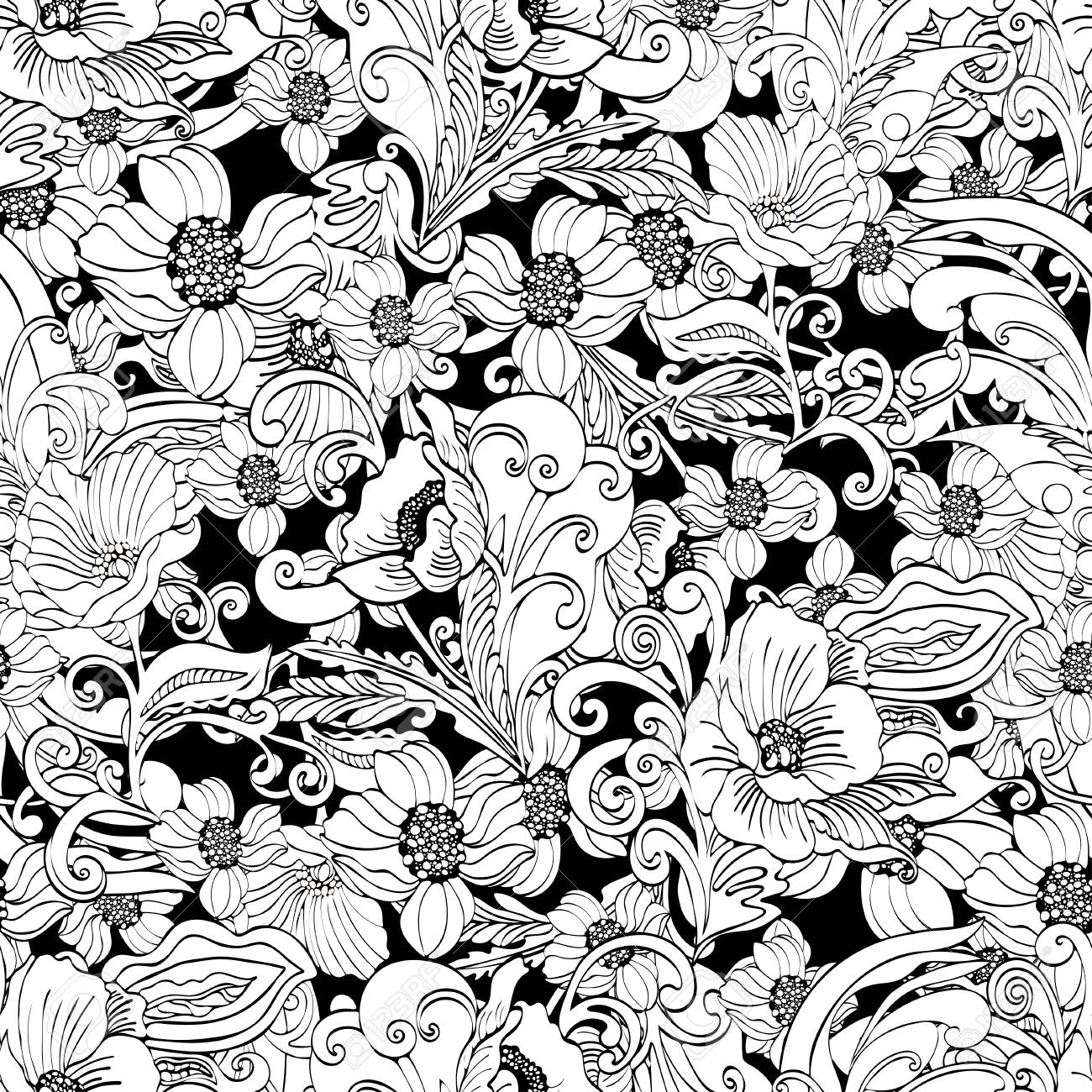 Abstract Flowers Seamless Pattern Vector Floral Outline Contour