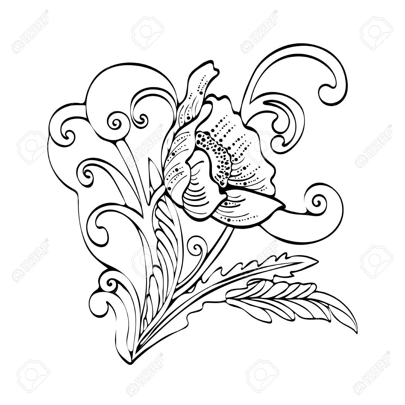 Abstract Flower Cartoon Vector Black And White Contour Hand Drawn