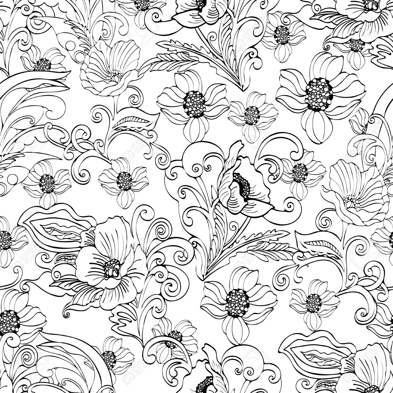 Abstract Flowers Seamless Pattern Vector Floral Black And White