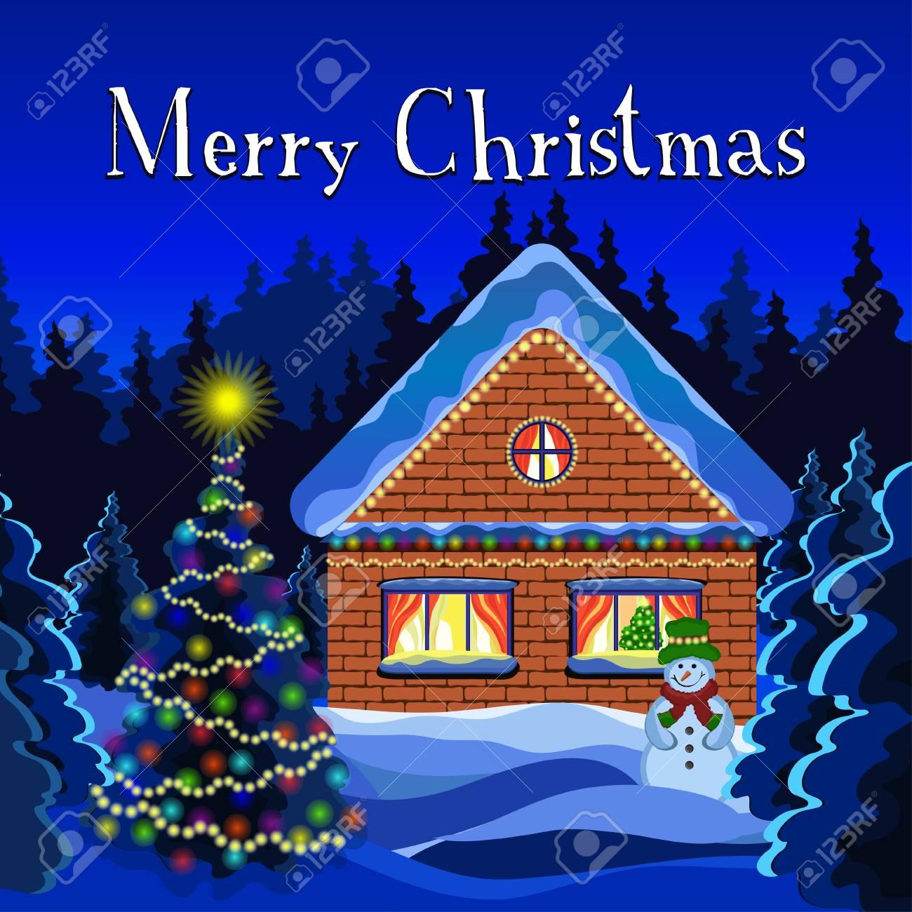 Carte De Noel Joyeux Dessin De Vecteur De Paysage Hiver Noel Foret