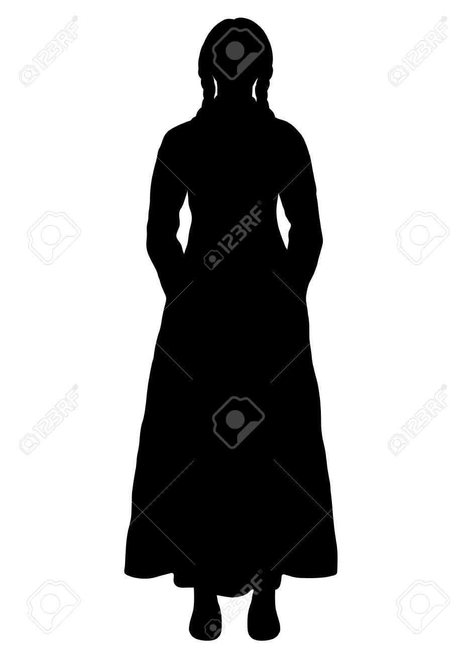 Girl in italian national costume silhouette vector outline portrait