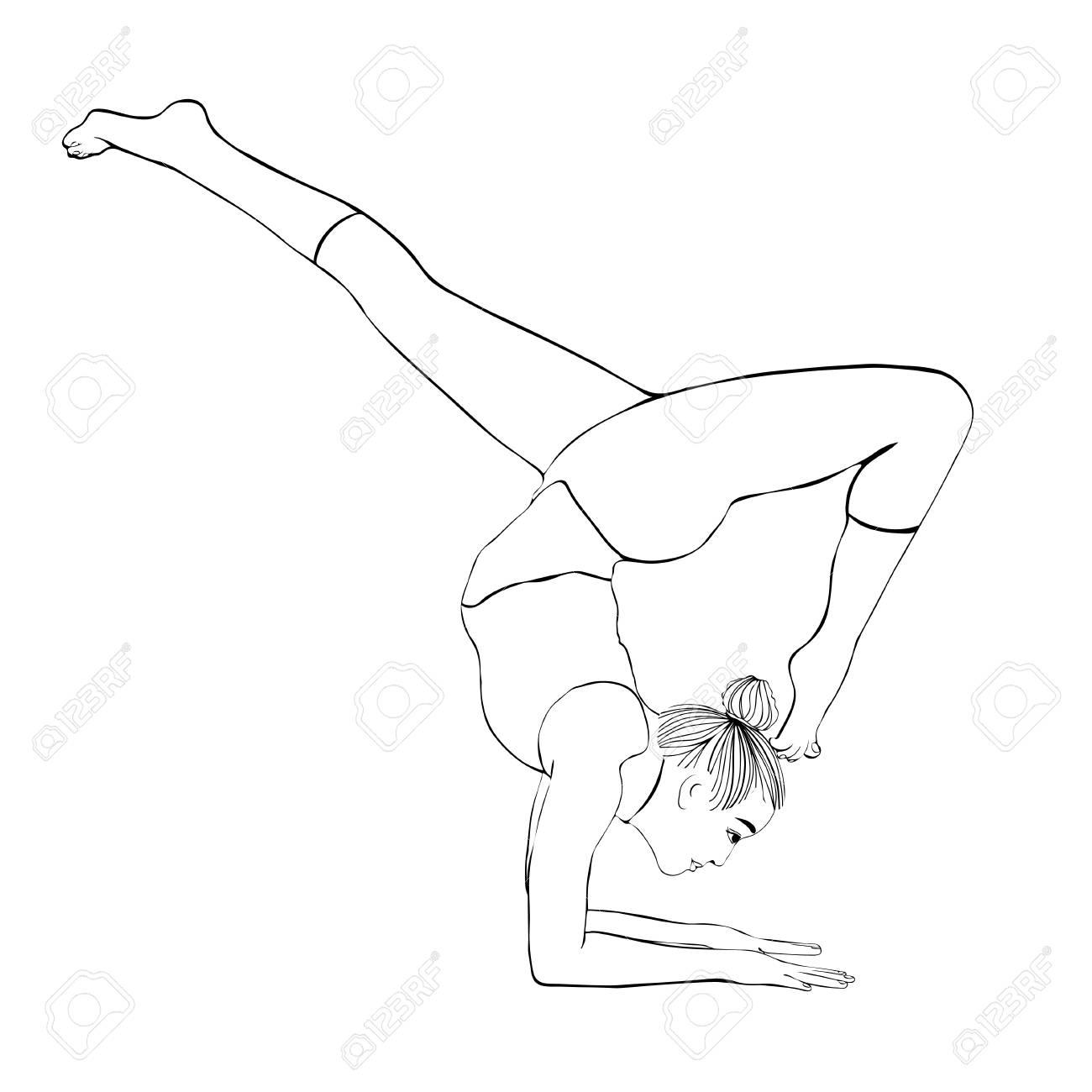 Pose De Yoga Poirier De Femme Vector Dessin Portrait A Colorier La Meditation Est Engagee Dans La Gymnastique Fille Fait Un Stand Sur Les Mains Esquisser Une Illustration En Noir Et Blanc