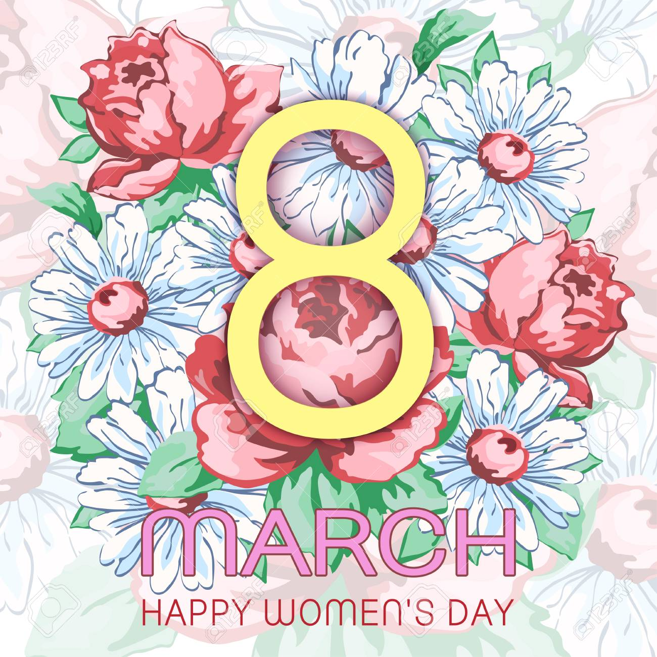 8 March Happy Womens Day Greeting Card Holiday Vector Floral