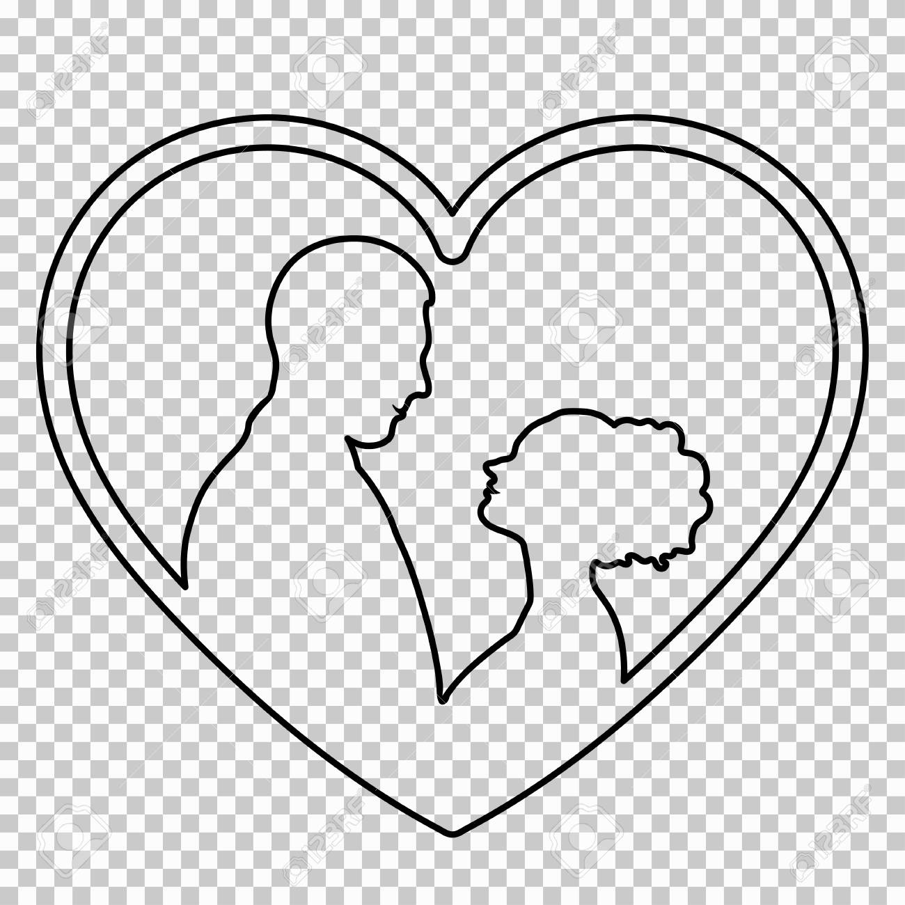 outline figure couple in love on transparent background vector