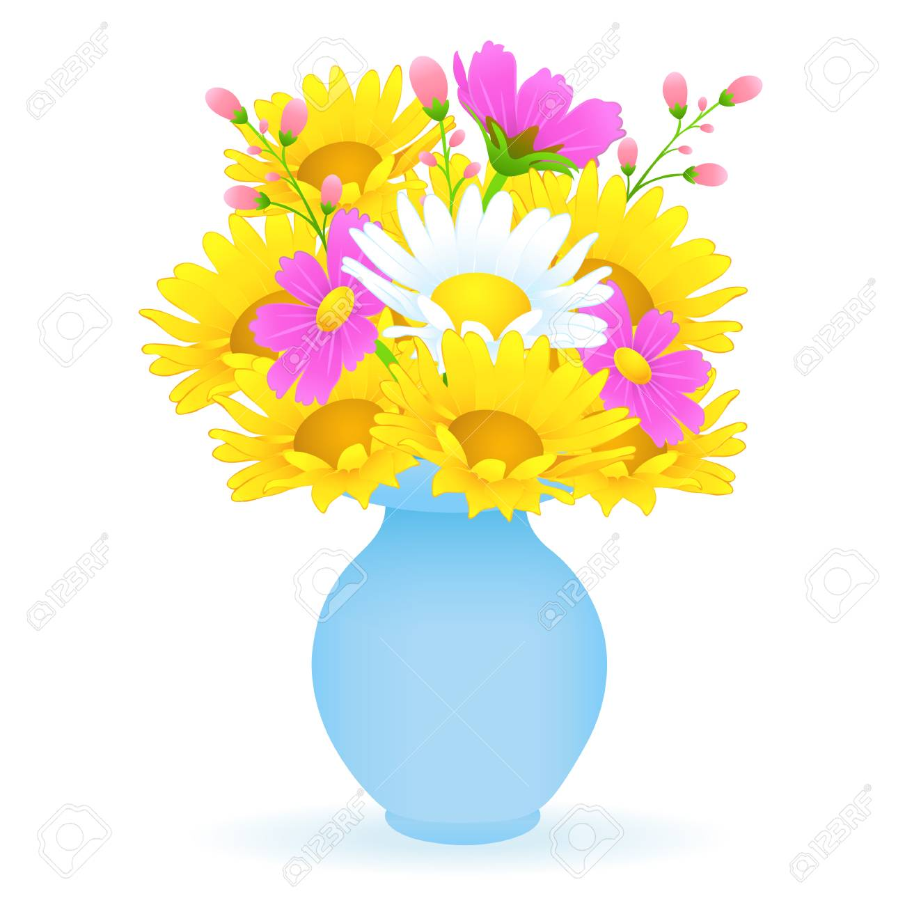 225 & Bouquet of colorful flowers in the vase vector drawing. Bright..