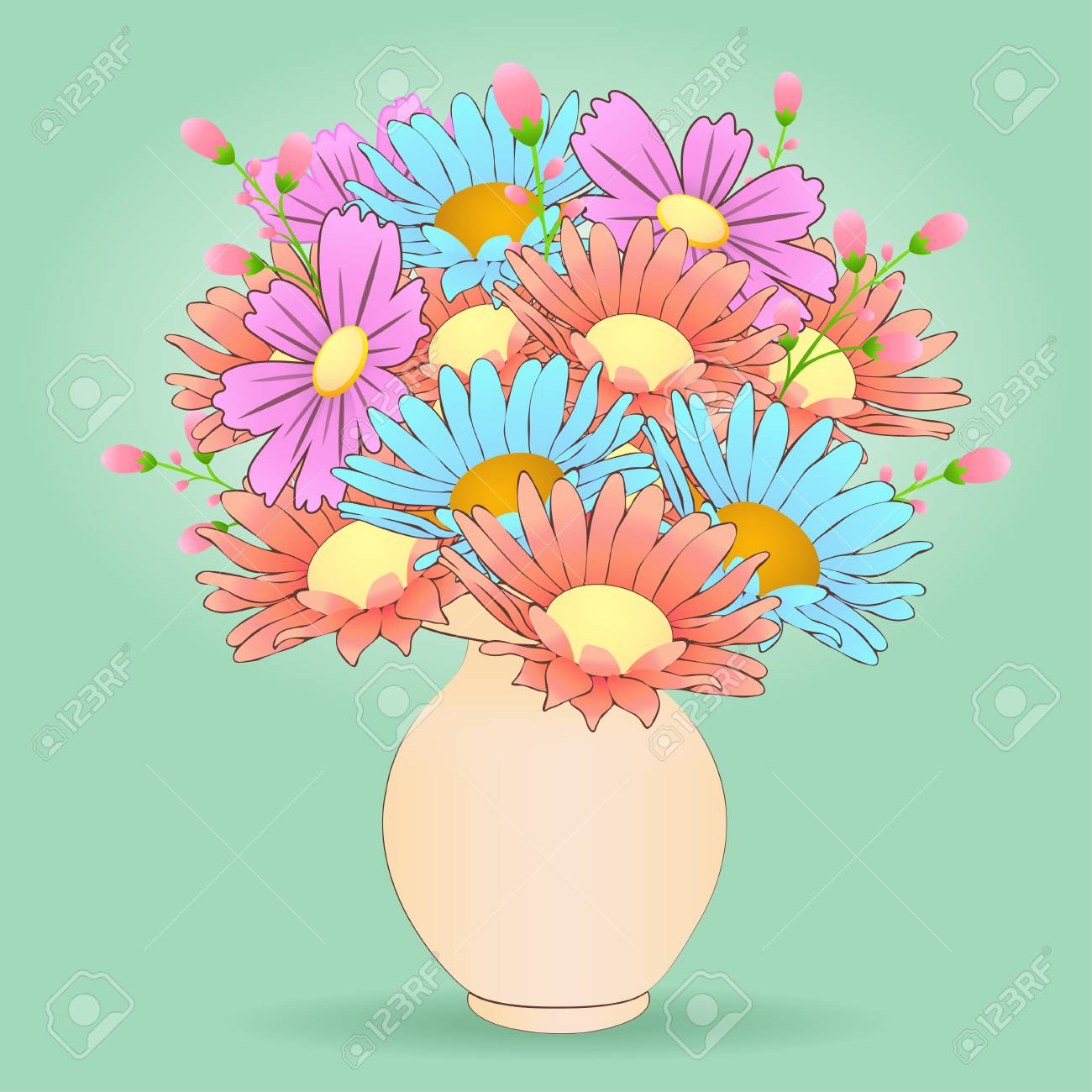 Bouquet Of Cartoon Flowers In The Vase Vector Hand Drawn Colorful Meadow Buds