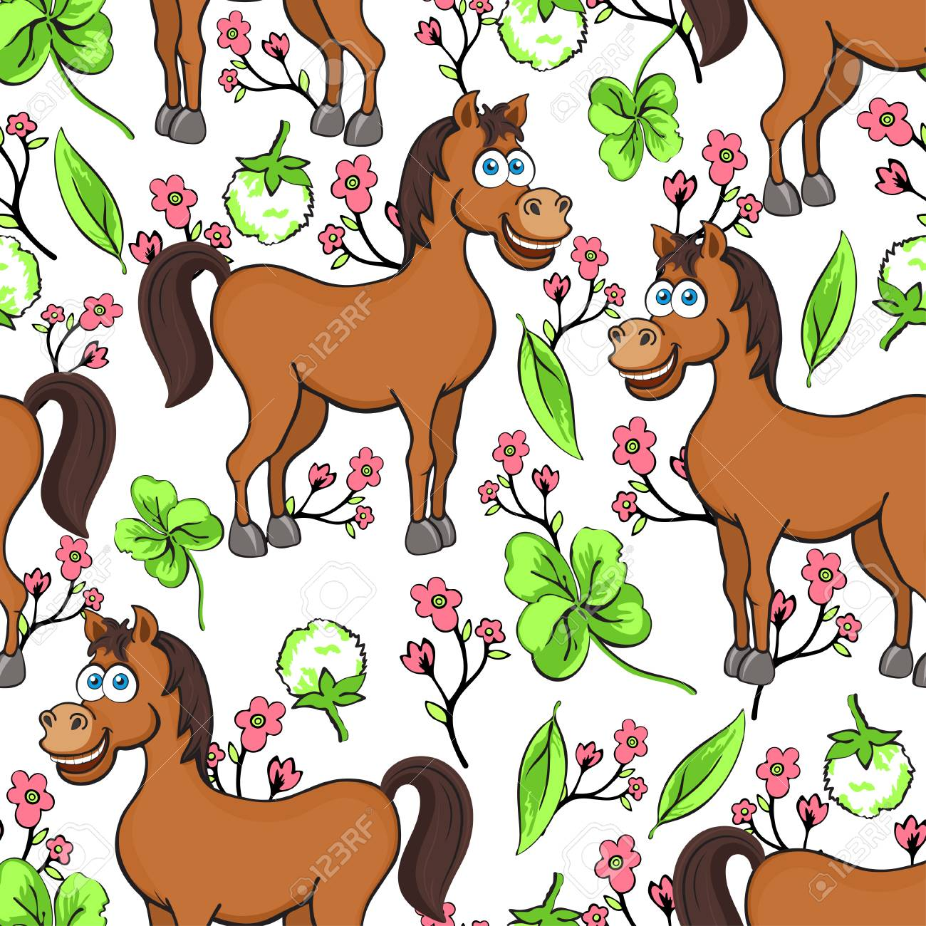 Horse Cartoon Drawing Seamless Pattern Vector Illustration Royalty Free Cliparts Vectors And Stock Illustration Image 114993081