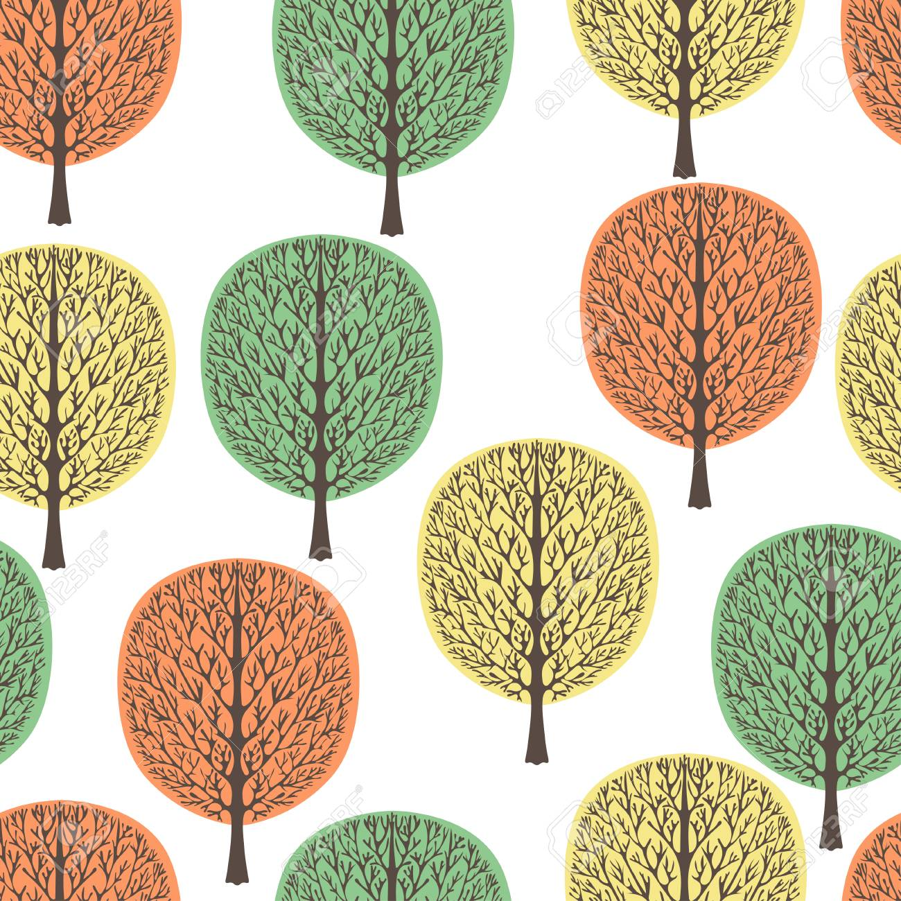 Abstract Trees Seamless Pattern, Vector Illustration, Stylized ...