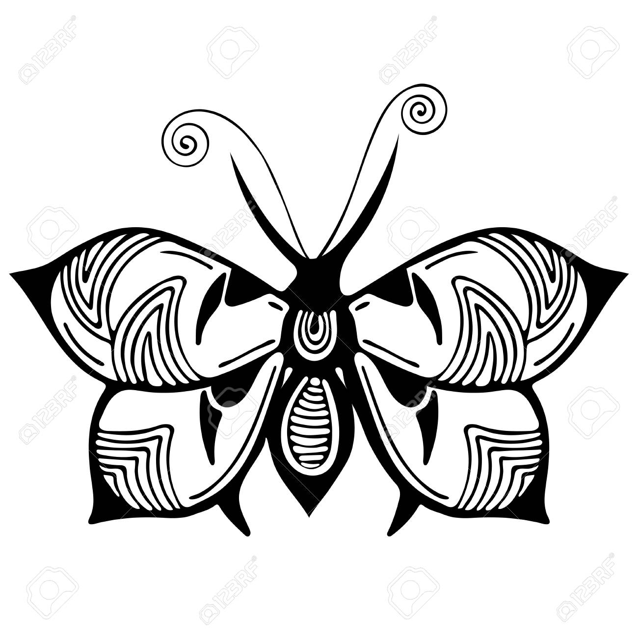 Abstract butterfly black and white drawing outline ornament