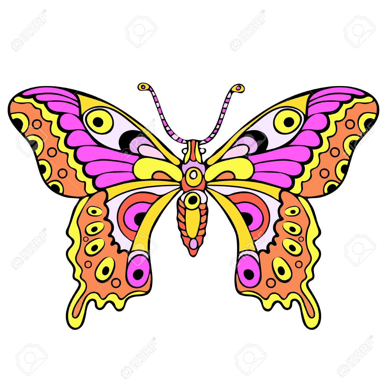 Abstract Colorful Butterfly Cartoon Hand Drawing Textile Print