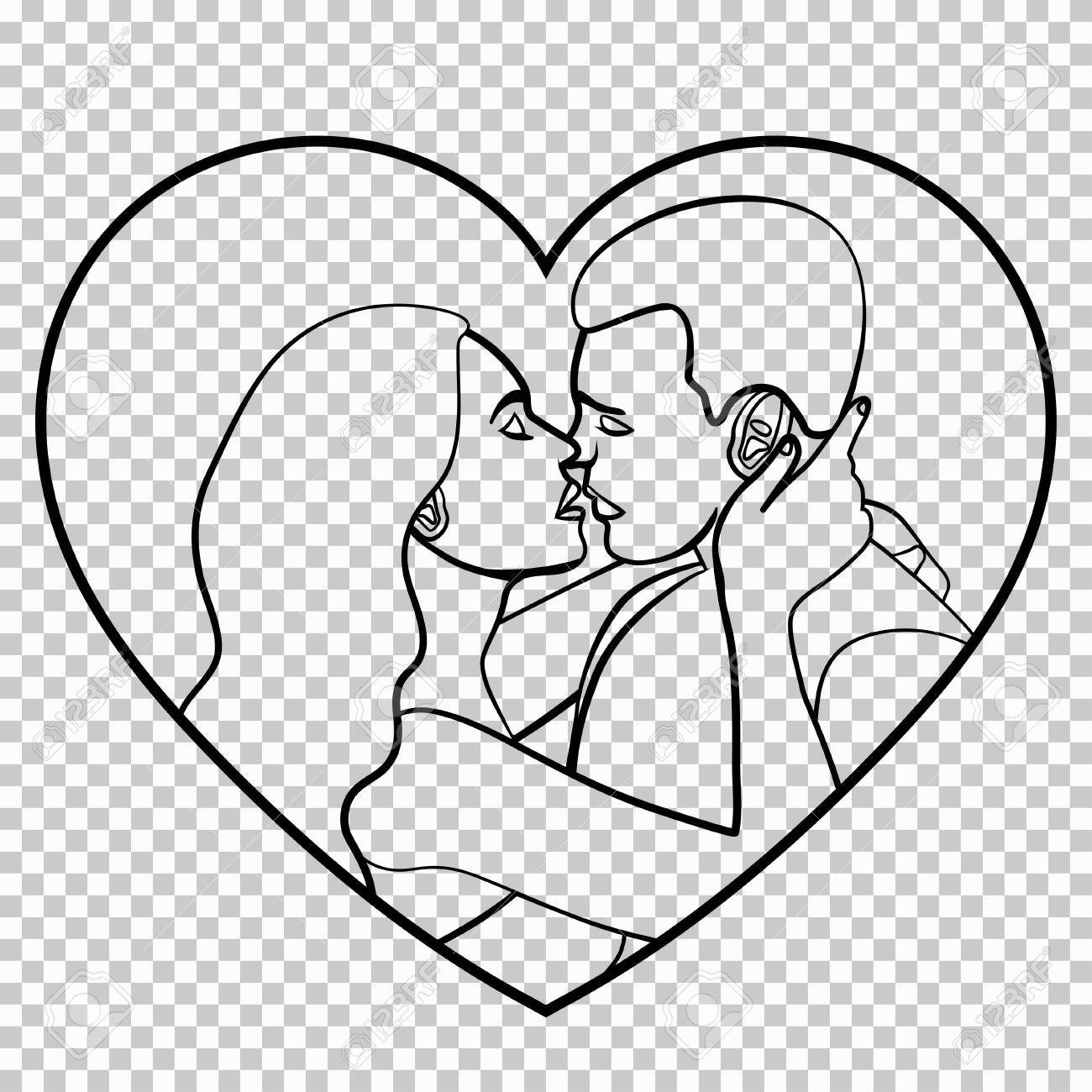 Couple in love stencil silhouette linear black and white outline