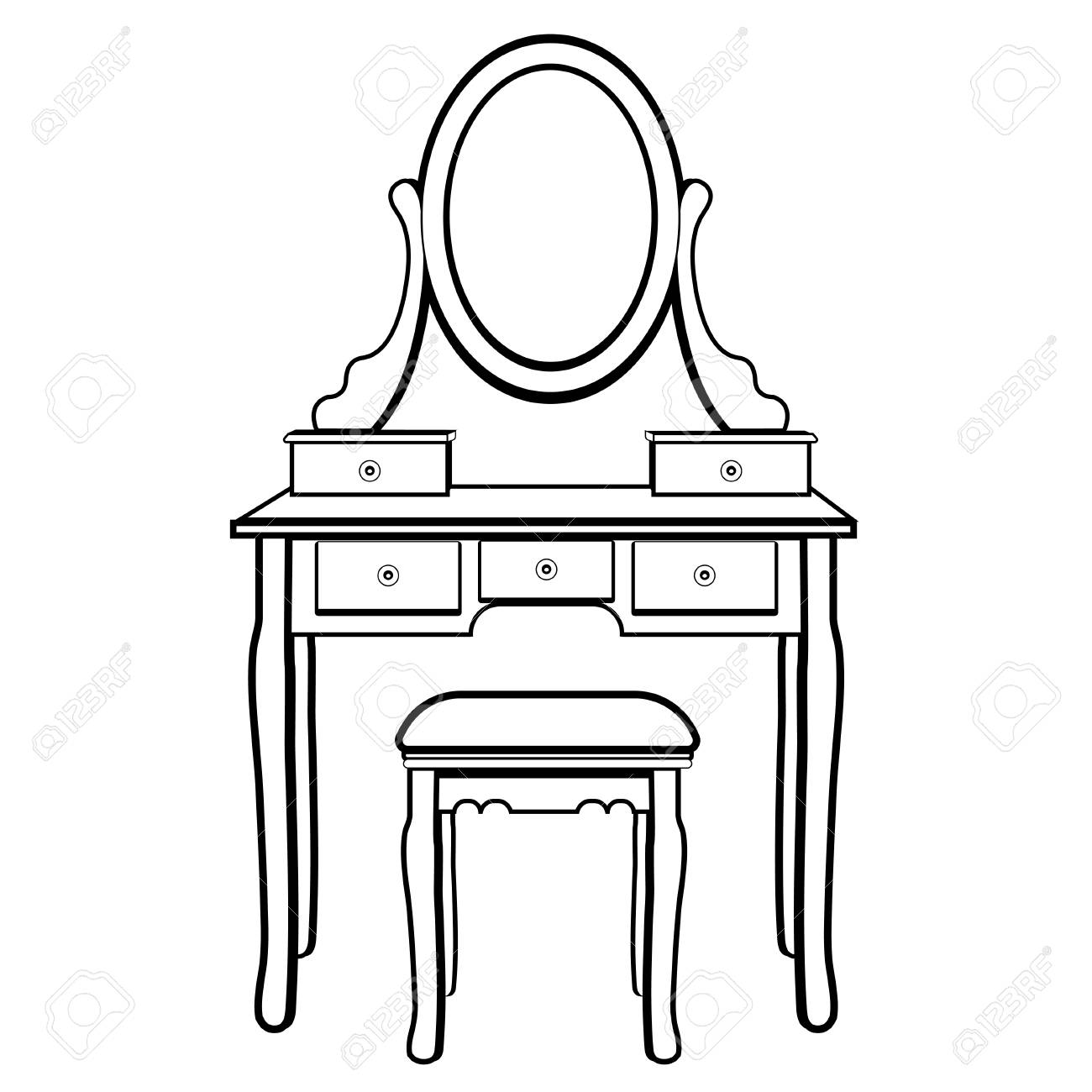 Dressing Table With Mirror Female Boudoir For Applying Makeup Royalty Free Cliparts Vectors And Stock Illustration Image 125285319