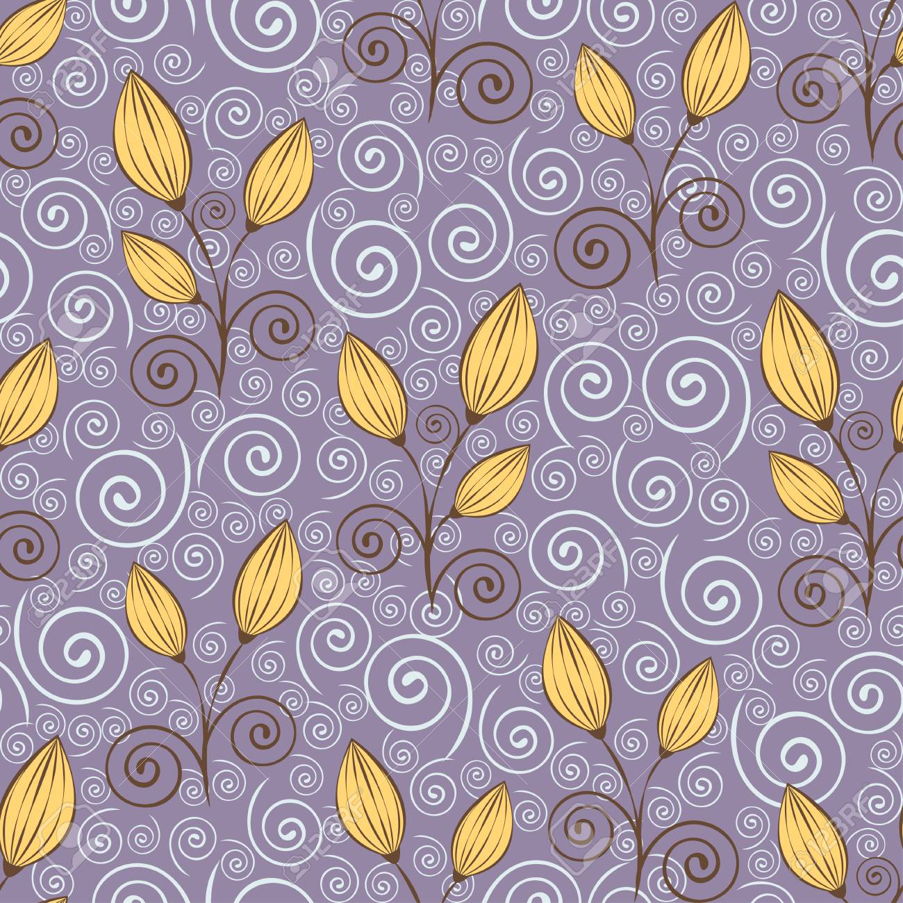 Abstract Flowers Seamless Pattern Outline Drawing Minimalistic