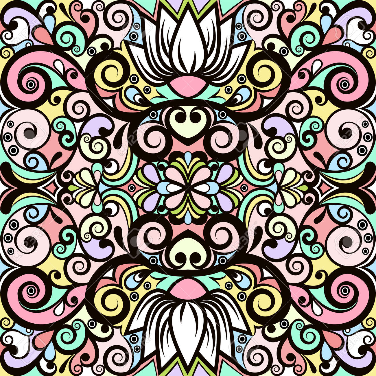 Floral Abstract Ornament, Bright Pastel Colorful Pattern ...
