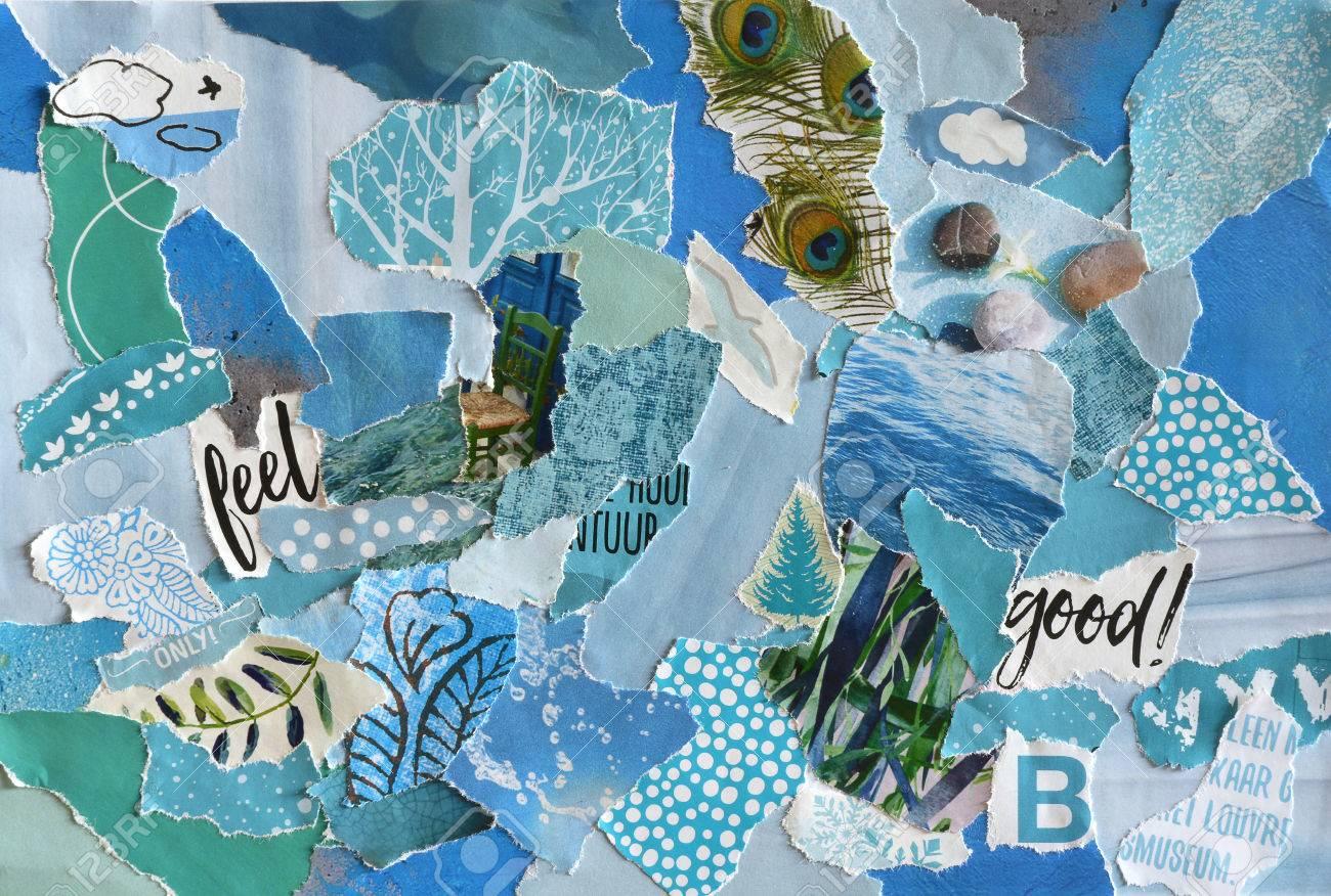 01f194c353b2 Creativo arte atmósfera Tabla de tendencias hoja del collage en la idea de  color azul, verde, aguamarina y turquesa hecha de revistas e impresos ...