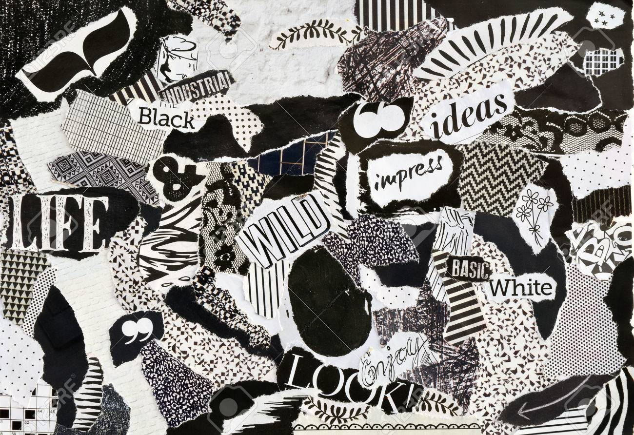 Creative atmosphere art mood board collage sheet in color idea black and white made of magazines