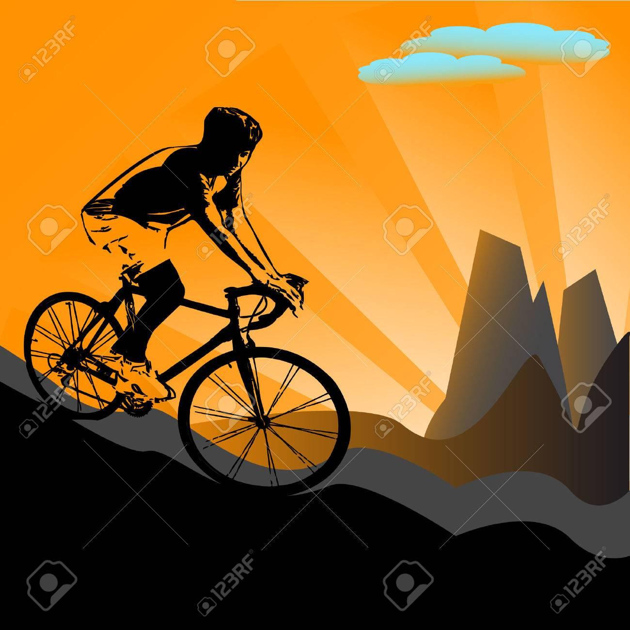 vector illustration of biker silhouette on sunny, mountain background - 5737083