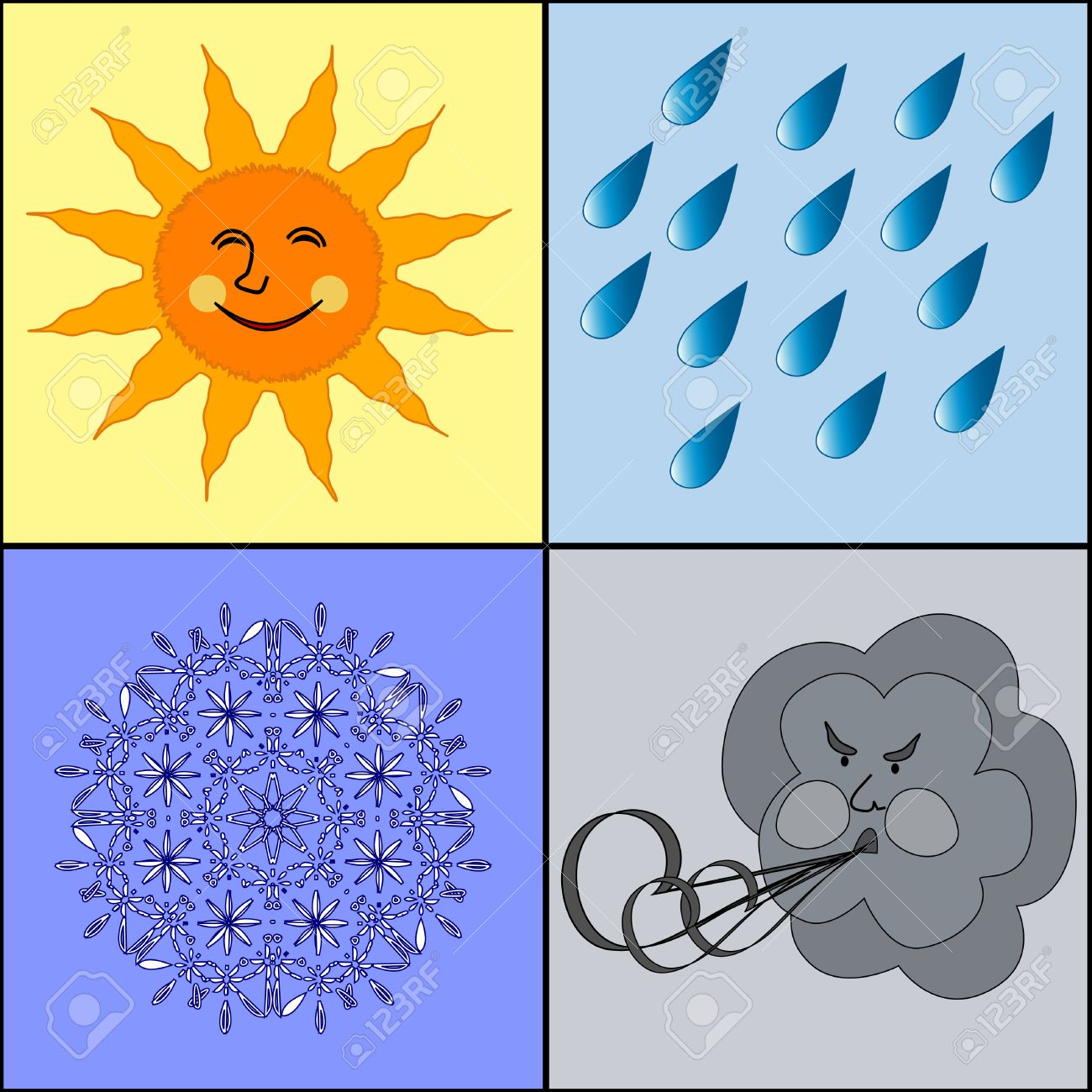 84c0ed2388 Vector - vector illustration of the weather icons. Four weather conditions  icon  sunny rainy windy wintry