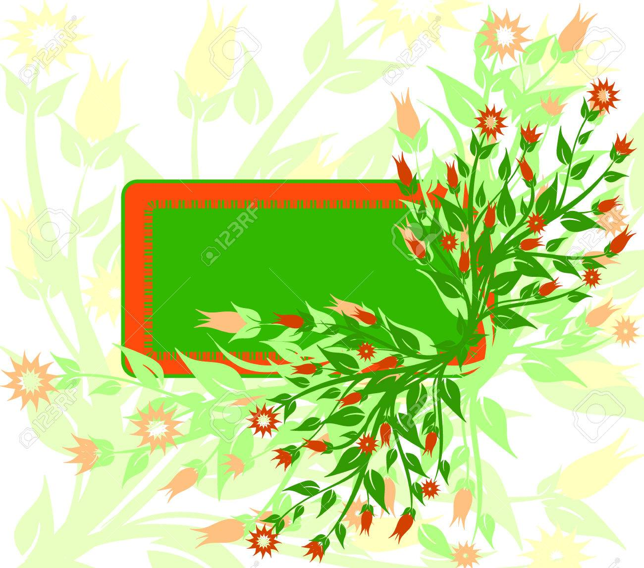 vector illustration of floral background with the frame Stock Vector - 6174438