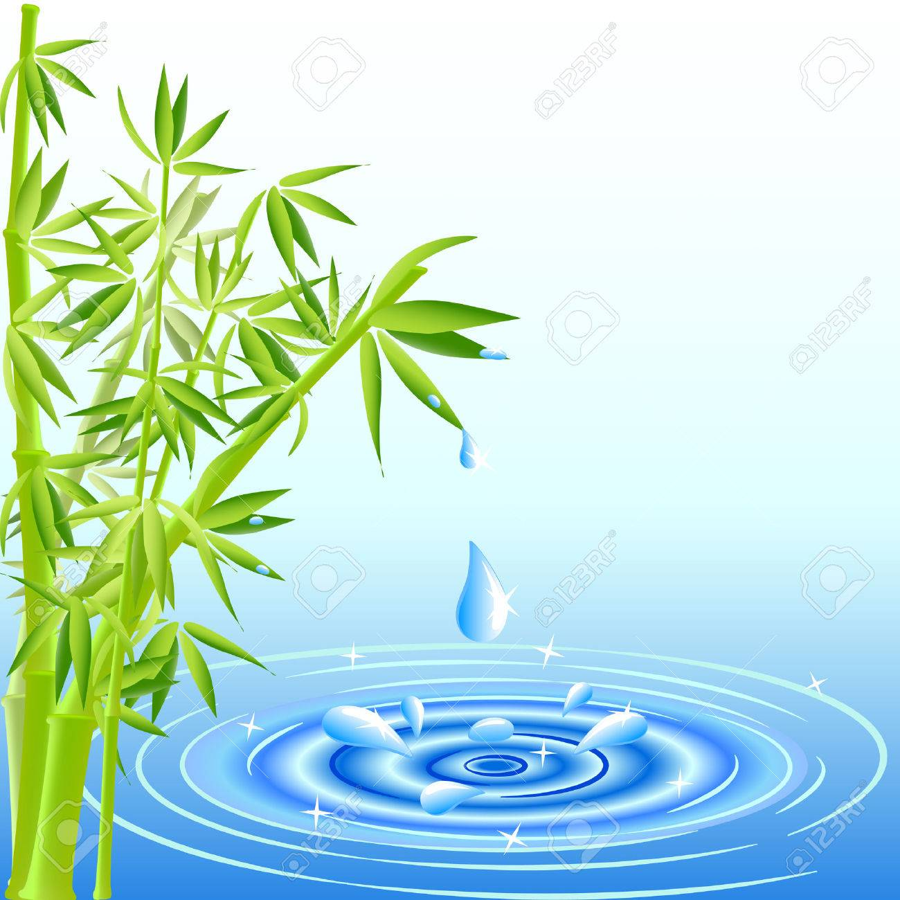 vector illustration of a water drops falling from the bamboo leaves Stock Vector - 6589794