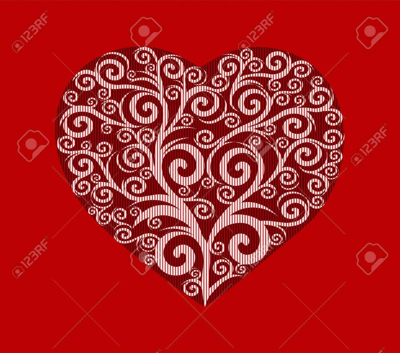 vector illustration of a stylish heart. Valentine's Day card. Stock Vector - 8542954