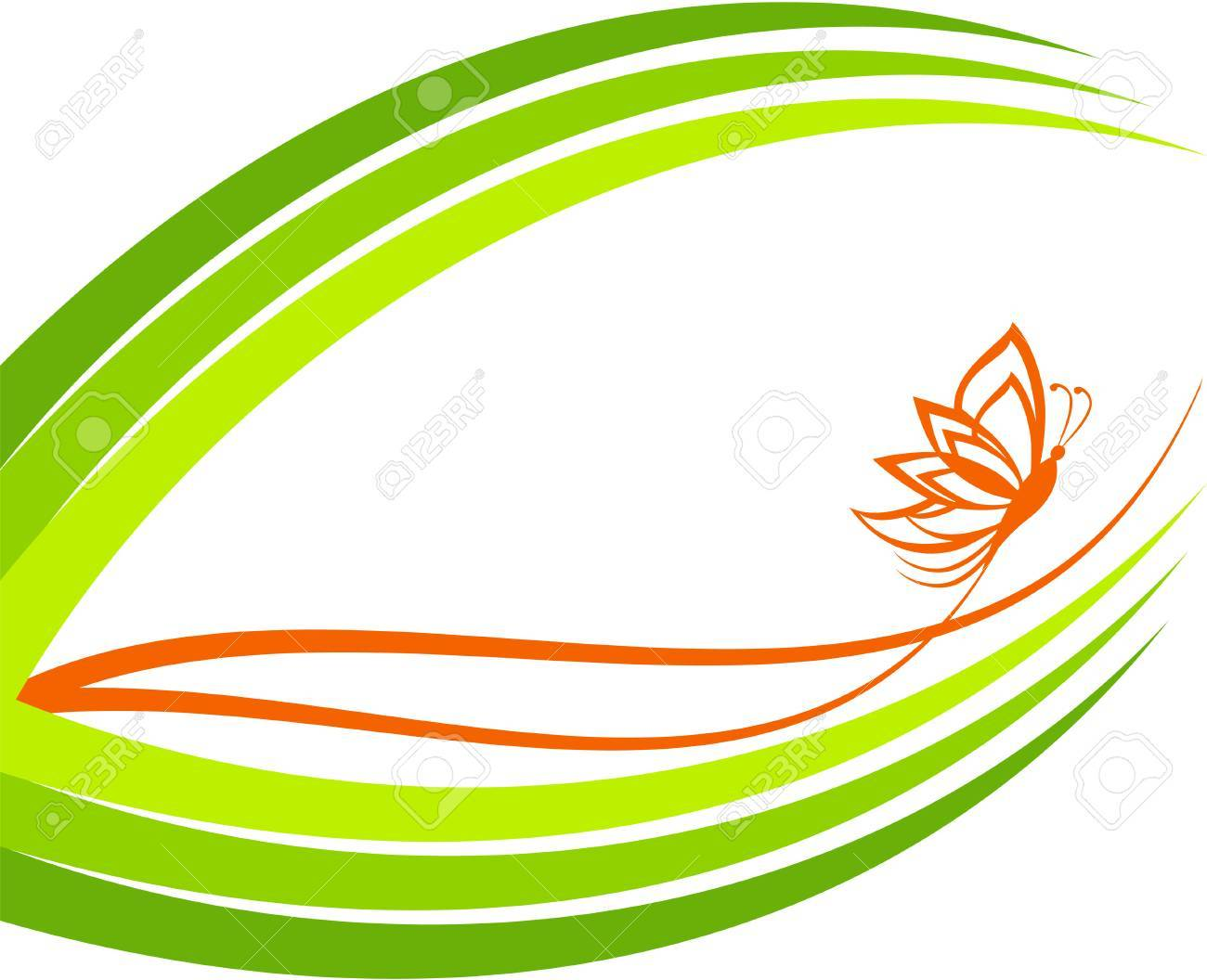 green waves with butterfly Stock Vector - 8957443