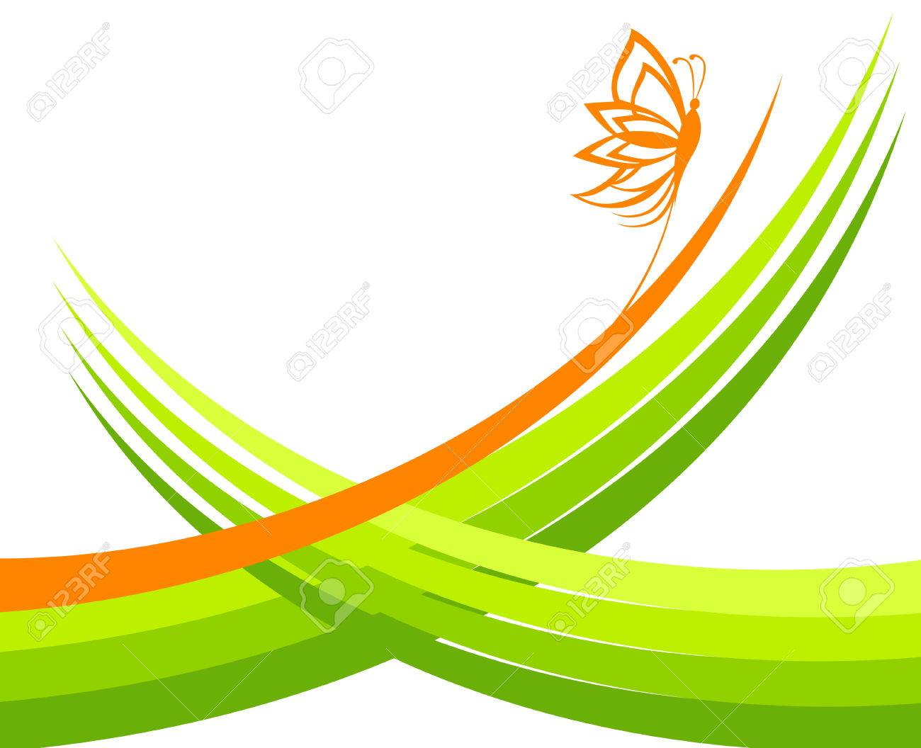 green waves with butterfly Stock Vector - 8957442