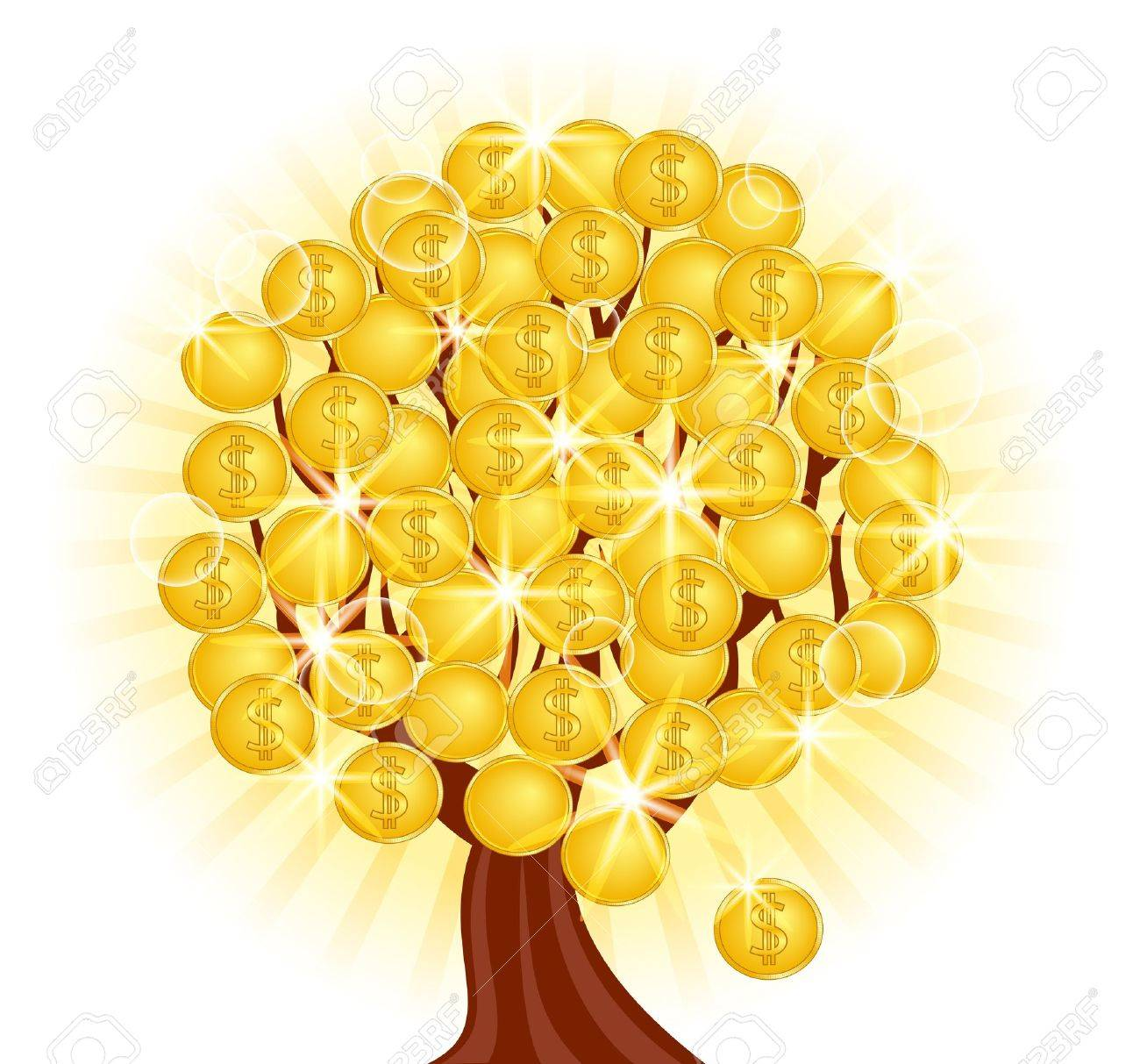 vector illustration of a money tree with coins on sunny background - 9531483