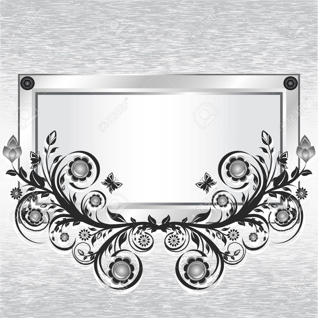 illustration of a grunge metal background with frame and flower ornament. Stock Vector - 10669613