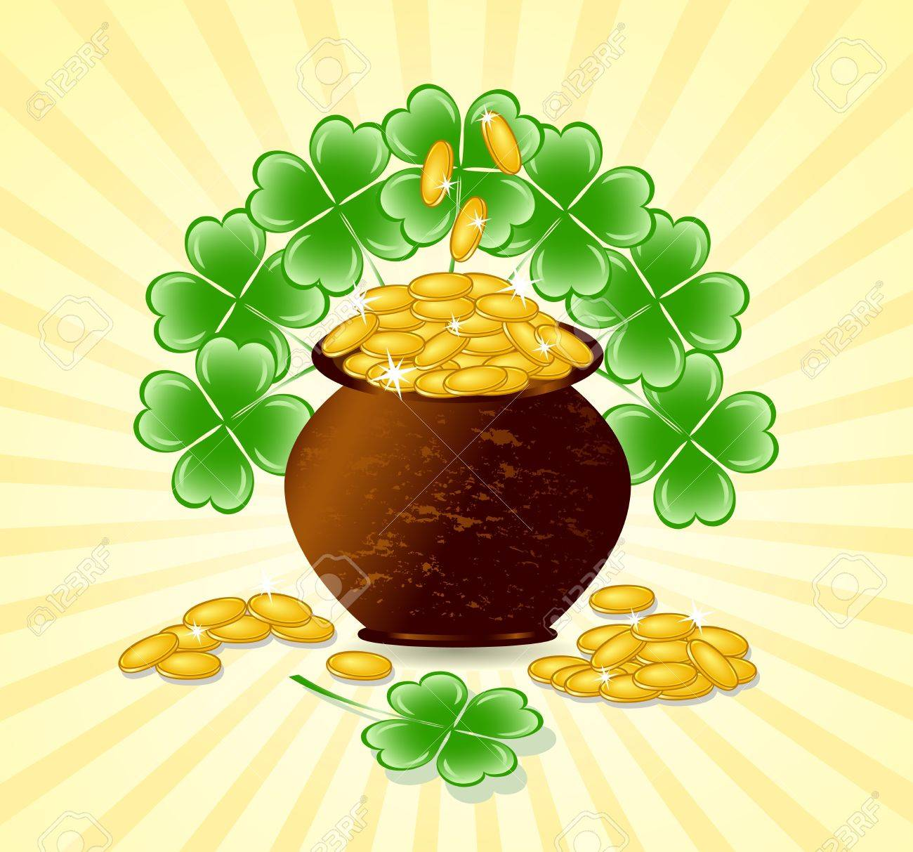 illustration of a  St. Patrick day theme with pot of gold coins, shamrocks on sunny background Stock Vector - 11844835
