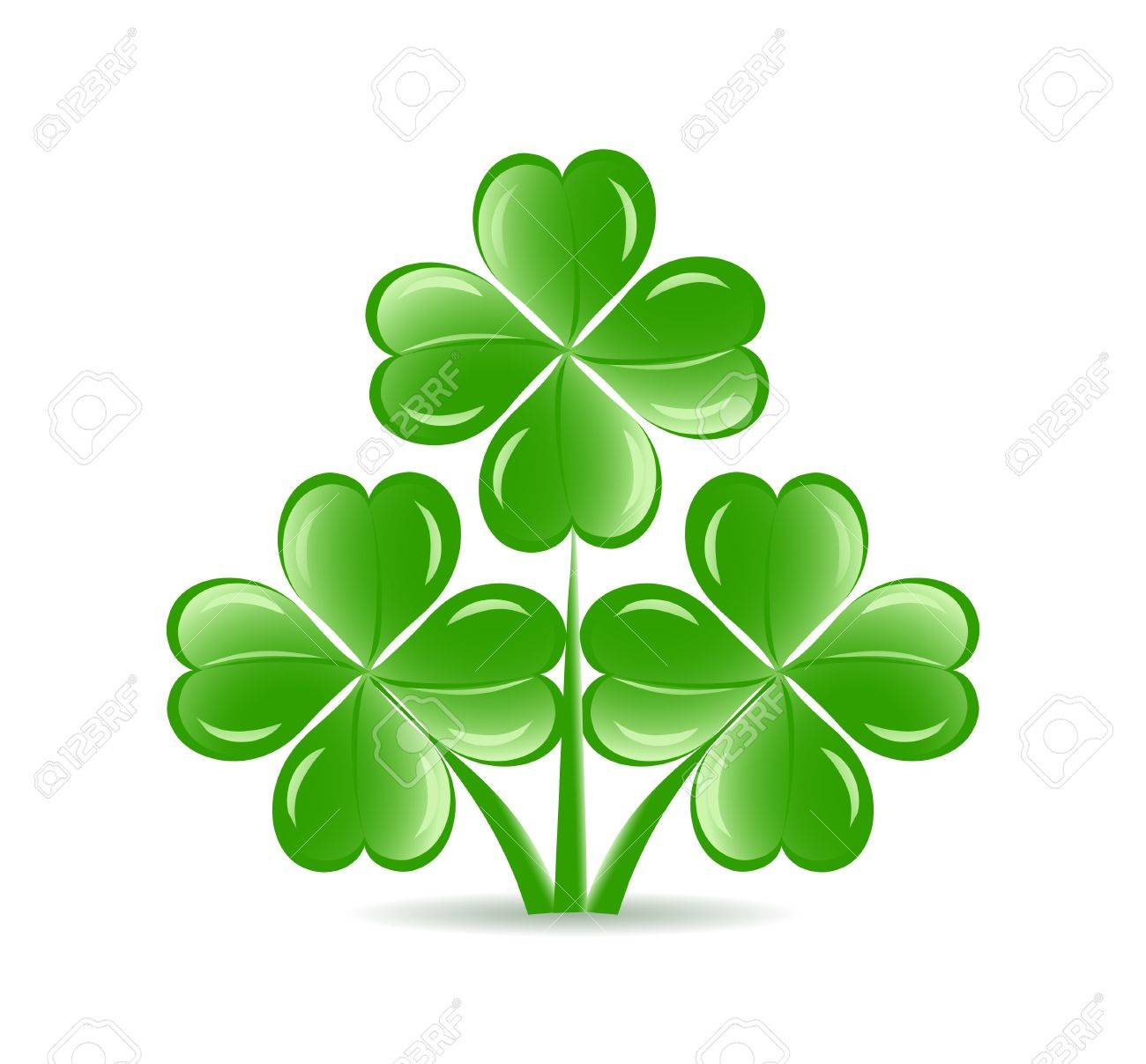 illustration of the three  shamrocks with four lucky leaves isolated on white background.  St. Patrick Stock Vector - 11844823