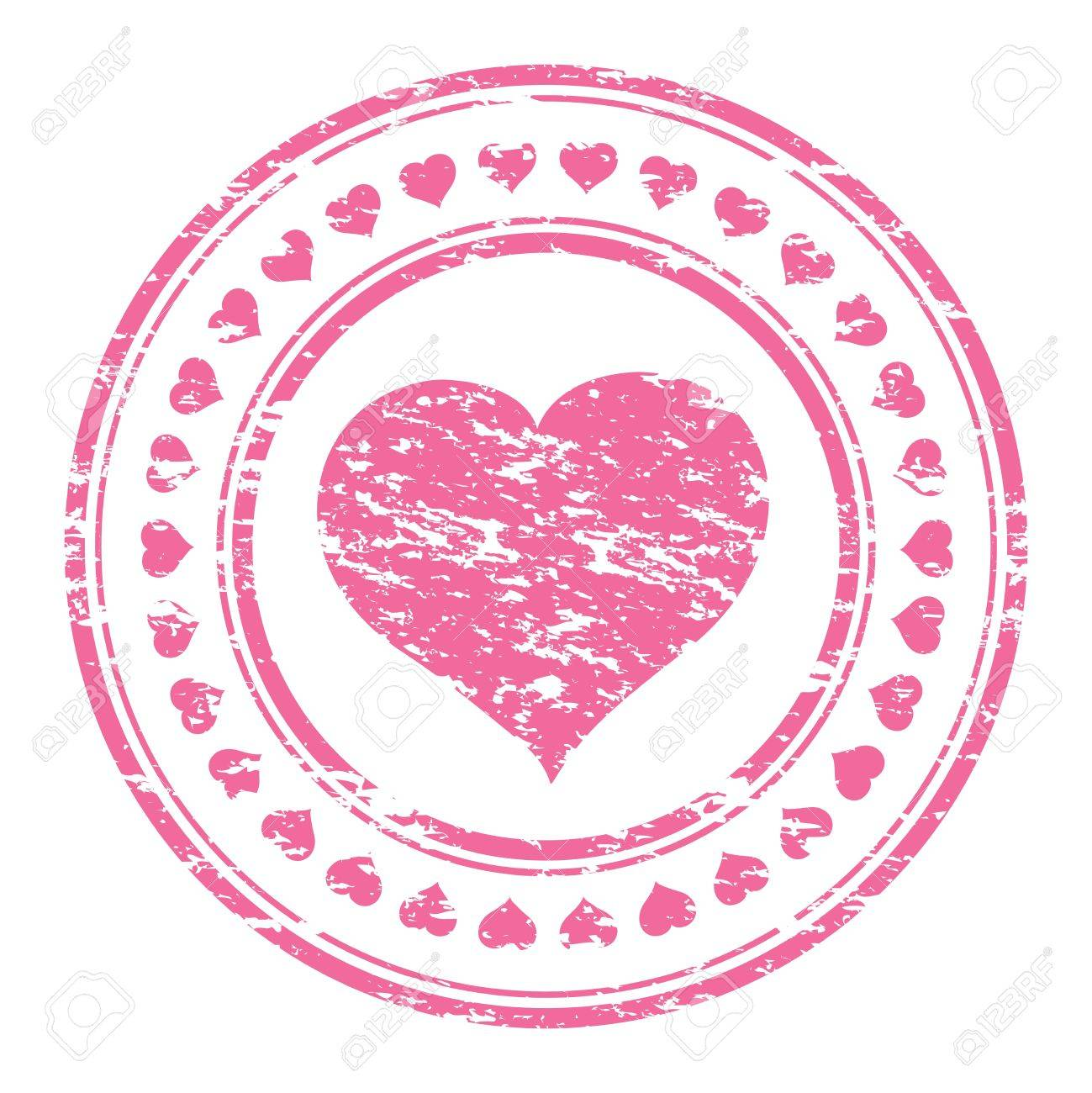 illustrator of a grunge pink rubber stamp with heart isolated
