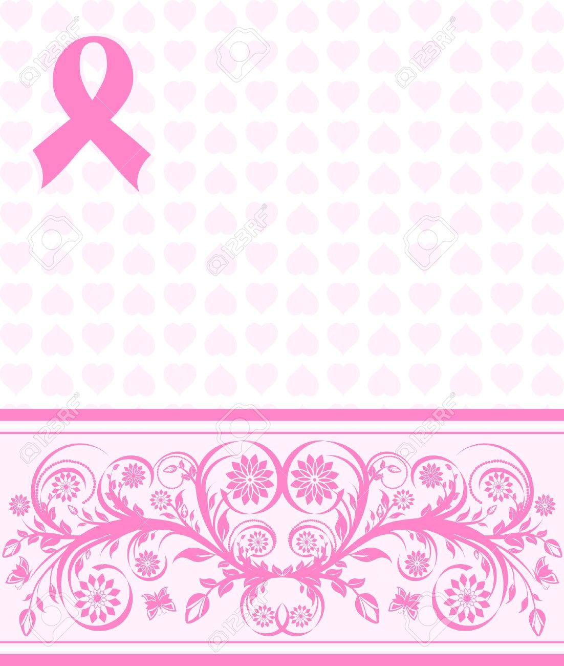 Illustration Of A Pink Ribbon Breast Cancer Support Background ...