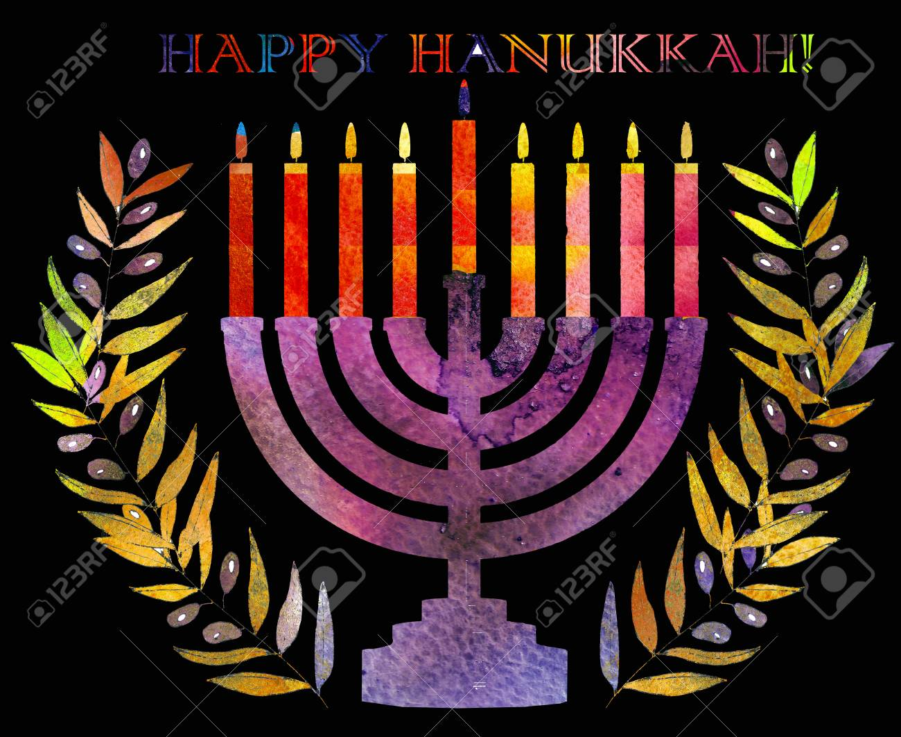 Jewish traditional holiday hannukah greeting card with menorah jewish traditional holiday hannukah greeting card with menorah and text happy hanukkah watercolor background m4hsunfo