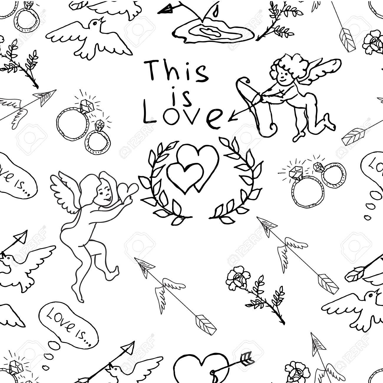 Hand Drawn Vector Seamless Pattern Cute Wedding Theme Angels
