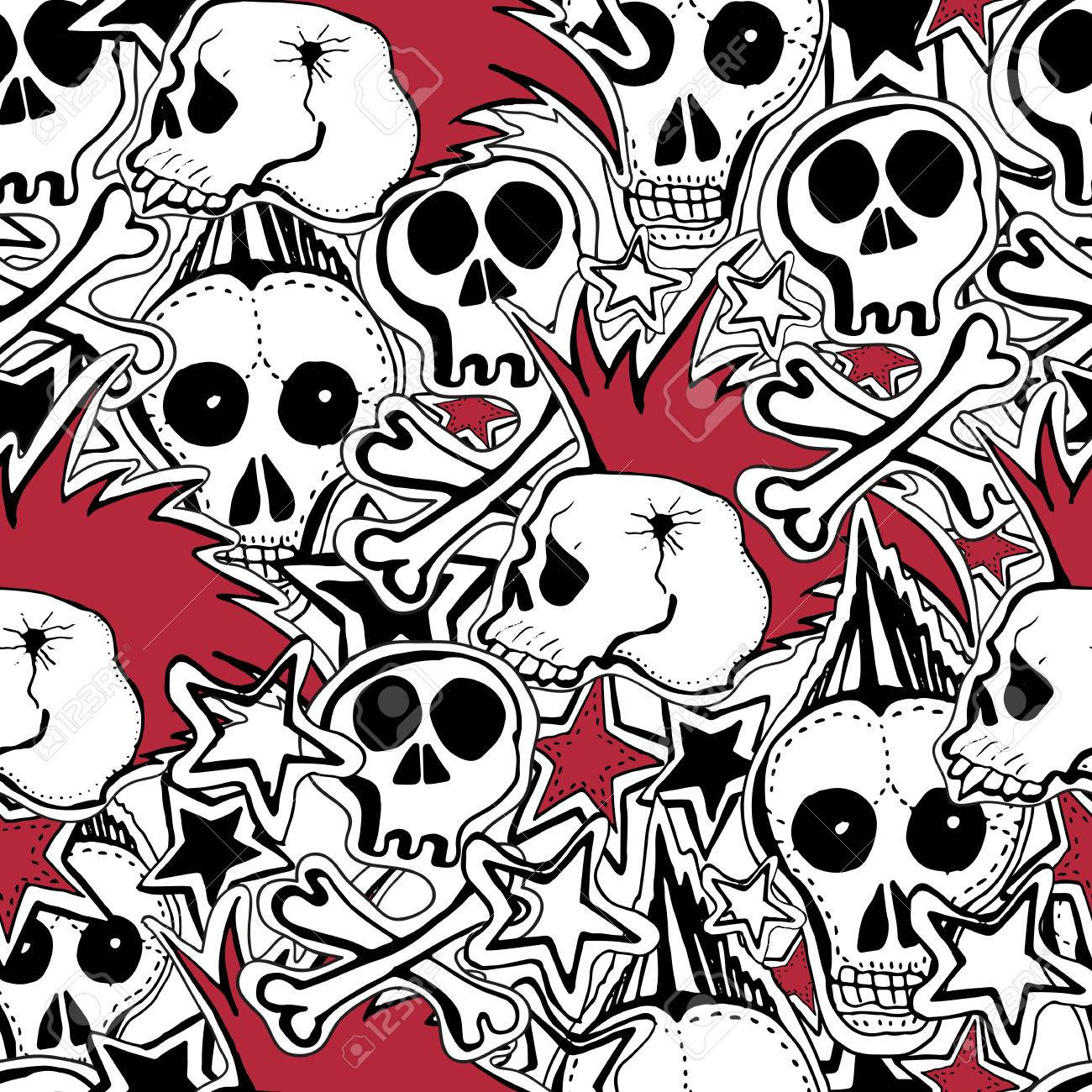 Vector Seamles Pattern Crazy Punk Rock Abstract Background Skulls