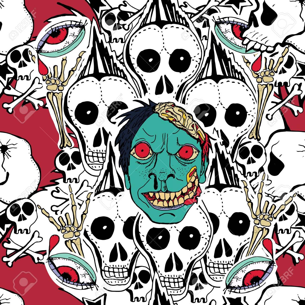 Vektor Naht Muster. Crazy Zombie Hand Gezeichnet Hintergrund ...