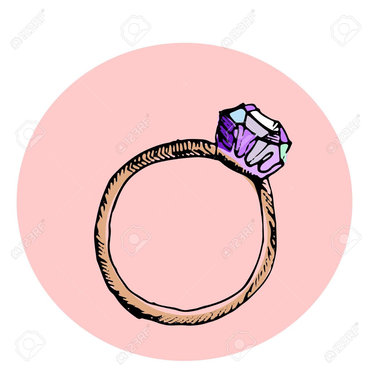 Fashion Vector Illustration. Diamond Ring. Hand Drawn Sketch ...