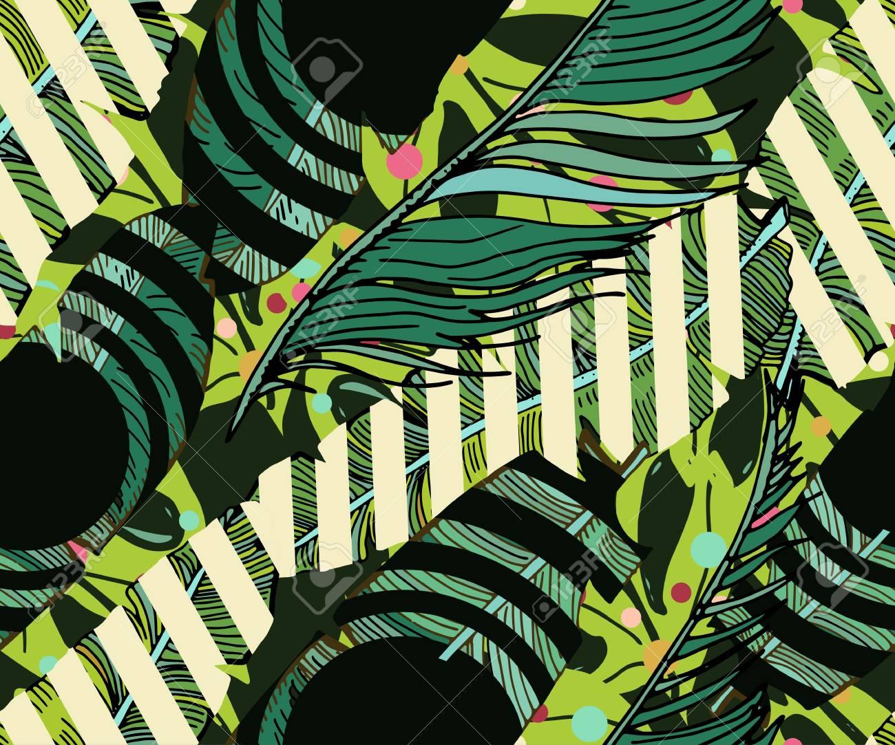 Fondo Transparente Tropical. Mano Dibuja El Patrón Lindo Vector ...